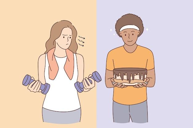 Concept de mode de vie actif ou de manger des bonbons
