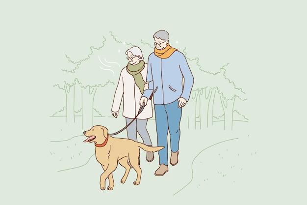 Concept de mode de vie heureux de personnes âgées