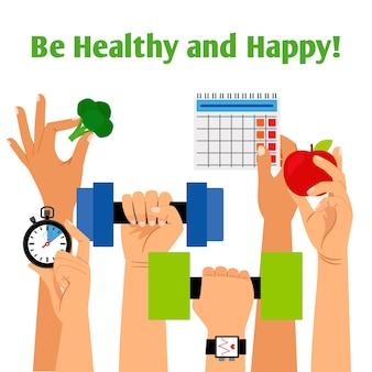 Concept de mode de vie sain avec les mains tenant la forme physique, une nutrition appropriée et les symboles de la routine quotidienne