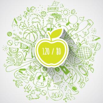 Concept de mode de vie sain avec pomme et griffonnages
