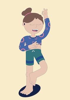 Concept de mode de vie sportif des femmes faisant du yoga et s'étirant en illustration vectorielle plane