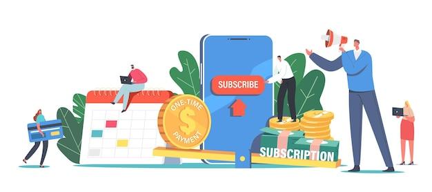 Concept de modèle d'affaires d'abonnement. service de commande mensuelle ou de marchandises avec paiement automatique. de minuscules personnages paient pour des applications premium, des bulletins d'information, des gens de dessin animé de contenu payant illustration vectorielle
