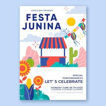 Concept de modèle d'affiche festa junina
