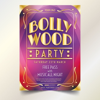 Concept de modèle d'affiche de fête de bollywood