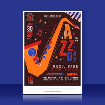 Concept de modèle d'affiche de la journée internationale du jazz