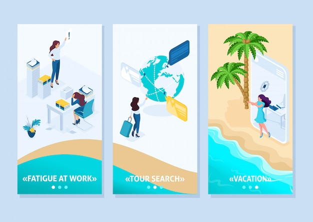 Concept de modèle d'application isométrique fille passe du bureau aux vacances via une tablette, des applications pour smartphone
