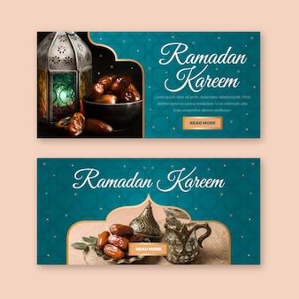 Concept de modèle de bannière ramadan design plat