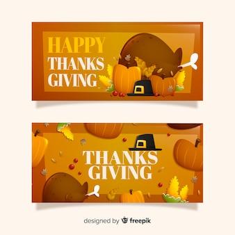 Concept de modèle sur les bannières du jour de thanksgiving
