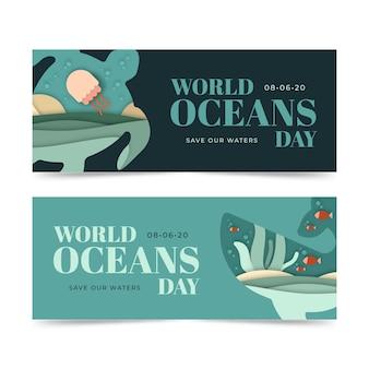 Concept de modèle de bannières de la journée mondiale des océans