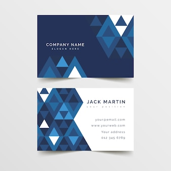 Concept de modèle de carte de visite bleu classique abstrait