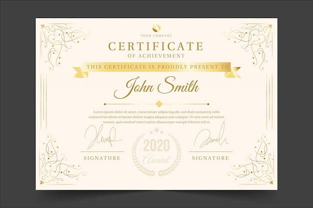 Concept de modèle de certificat de reconnaissance