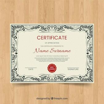 Concept de modèle de certificat vintage