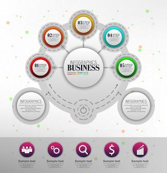 Concept de modèle d'entreprise infographie avec 5 options