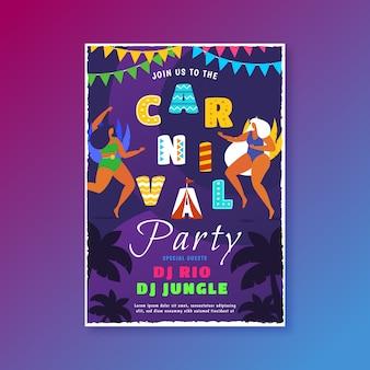Concept de modèle de flyer fête design plat carnaval