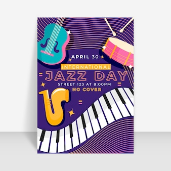 Concept de modèle de flyer international jazz day