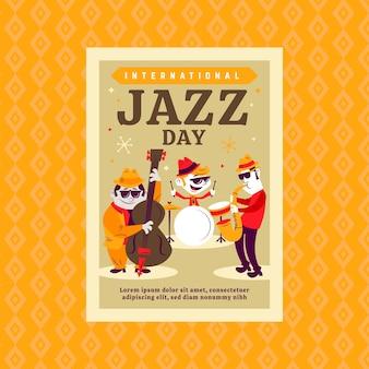 Concept de modèle de flyer pour la journée internationale du jazz
