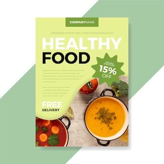 Concept de modèle de flyer de restaurant de nourriture saine