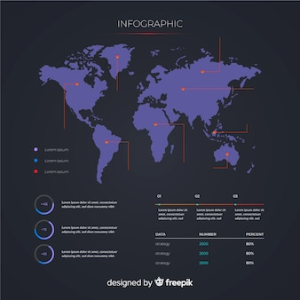 Concept de modèle infographie carte monde