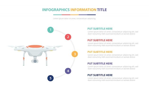 Concept de modèle d'infographie de drone avec une liste de cinq points et de diverses couleurs
