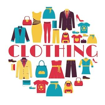 Concept de modèle d'infographie de vêtements de mode