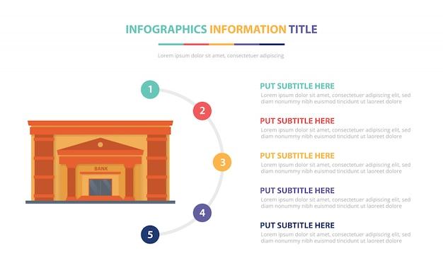 Concept de modèle infographique de bâtiment de banque avec la liste de cinq points et de diverses couleurs