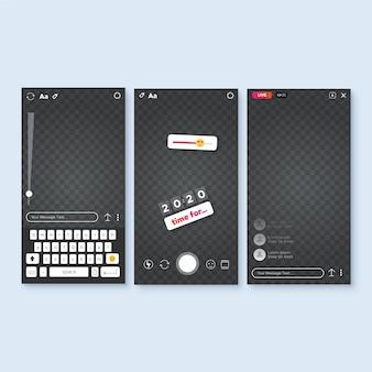 Concept de modèle d'interface d'histoires instagram