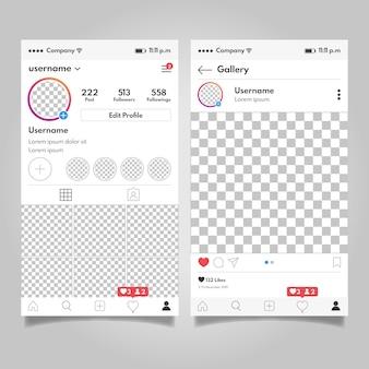 Concept de modèle d'interface de profil instagram