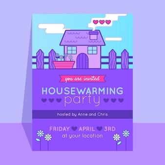 Concept de modèle d'invitation de fête de réchauffement de la maison