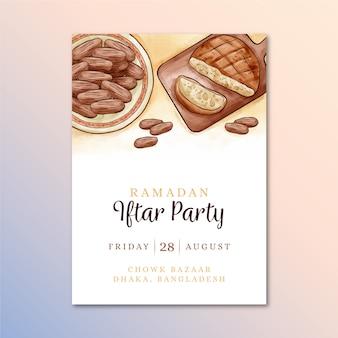 Concept de modèle d'invitation iftar aquarelle