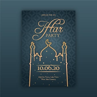 Concept de modèle d'invitation iftar design plat
