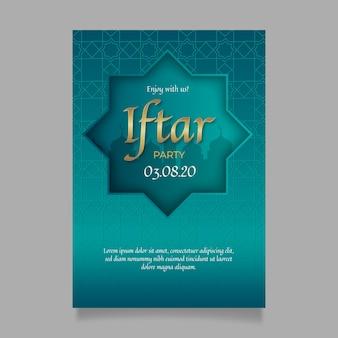 Concept de modèle d'invitation iftar réaliste