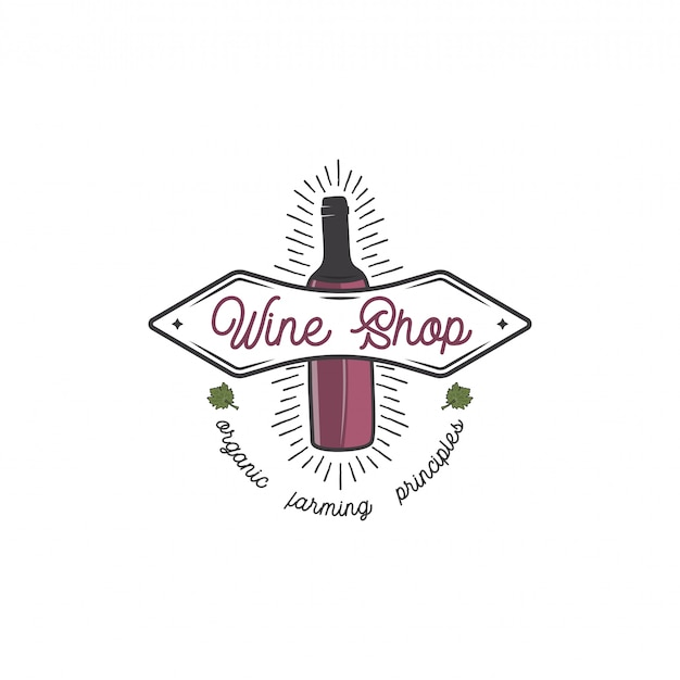 Concept de modèle de logo de magasin de vin. bouteille de vin, feuille, sunbursts et conception de typographie. emblème de stock pour cave, logotype de magasin de vin, magasin isolé sur fond blanc.