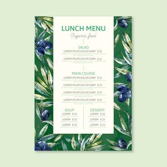Concept de modèle de menu de restaurant aquarelle