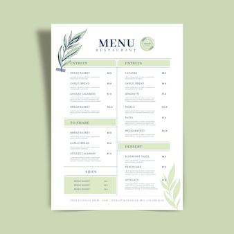 Concept de modèle de menu de restaurant