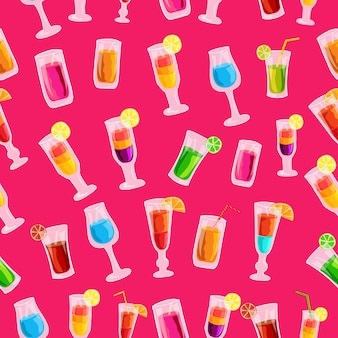 Concept de modèle de modèle sans couture de boisson cocktail coloré
