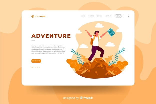 Concept de modèle de page d'atterrissage aventure
