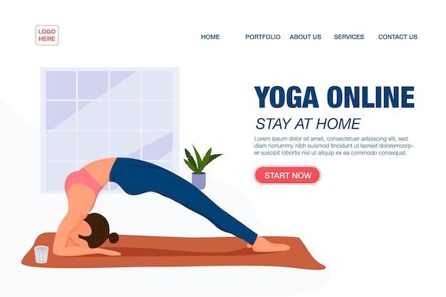 Concept de modèle de page de destination fille faisant du yoga en ligne à la maison