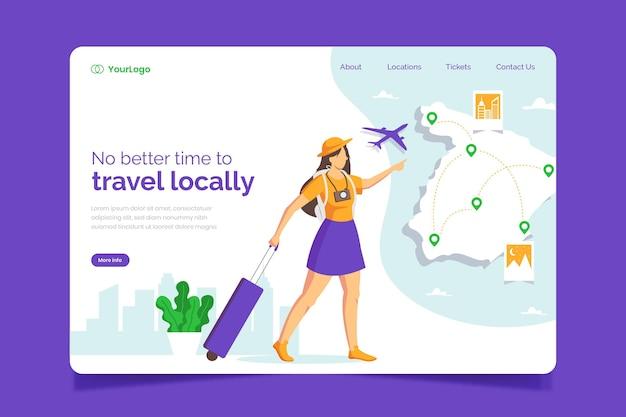 Concept de modèle de page de destination de tourisme local
