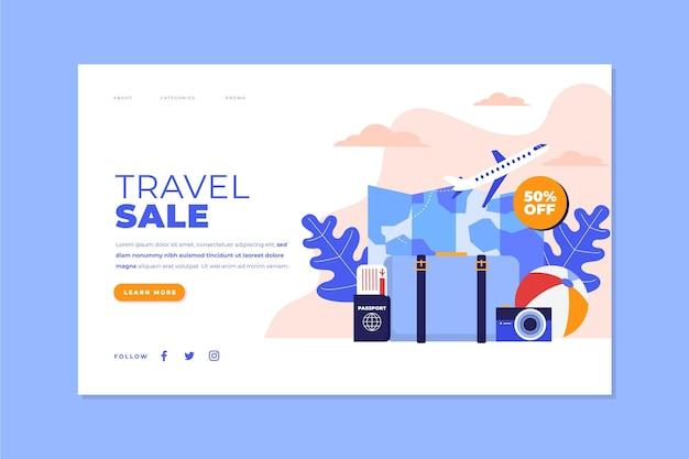Concept de modèle de page de destination de vente de voyage