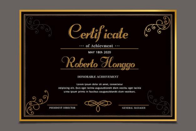 Concept de modèle de reconnaissance de certificat élégant