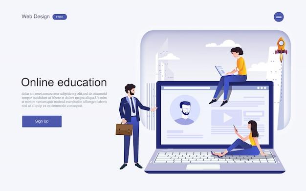 Concept de modèle de site web pour l'éducation, la formation et les cours en ligne.