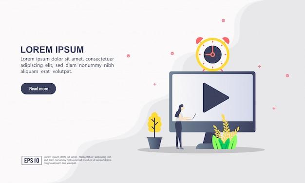 Concept de modèle web de page de destination du multimédia
