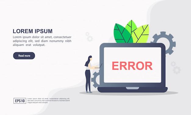 Concept de modèle web de page de destination d'erreur de page