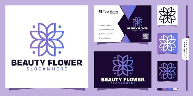 Concept moderne de logo de fleur violette et conception de carte de visite