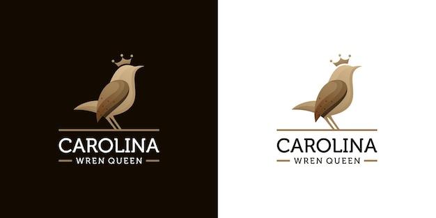 Concept moderne de logo oiseau troglodyte de caroline