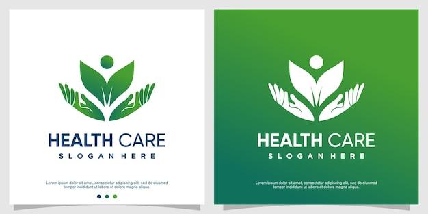 Concept moderne de modèle de logo de soins de santé vecteur premium