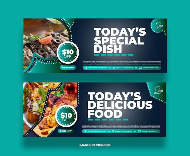 Concept moderne nourriture délicieux restaurant bannière de médias sociaux