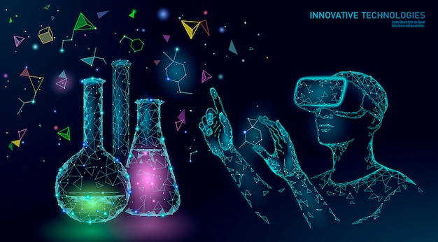 Concept de modification du gène de la biologie scientifique. casque vr lunettes de réalité virtuelle à projection holographique.