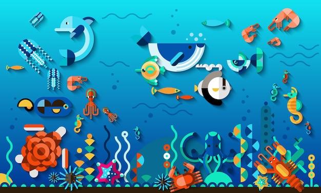 Concept de monde sous-marin