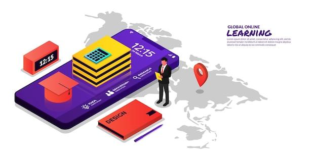 Concept mondial d'éducation en ligne apprenant à domicile avec smartphone
